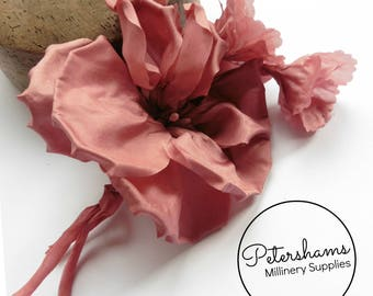 Silk 'Katie May' Millinery Flower Hat Mount for Bridal Fascinator Headdresses  - Dusky Pink