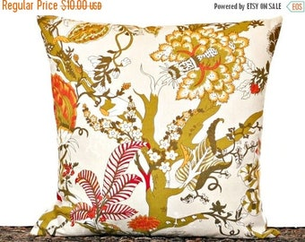Christmas in July Sale Sale 10.00 Asian Floral Pillow Cover Cushion Red Orange Mustard Olive Green Decorative Repurposed 18x18