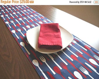 Christmas in July Sale Kitchen Table Runner Utensils Red White Blue Patriotic Fourth of July Modern Reversible Summer Buffet Picnic