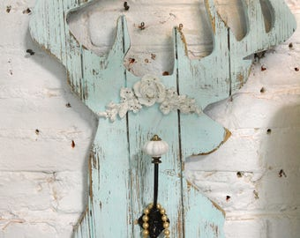Painted Cottage Chic Shabby Farmhouse Taxidermy Hook