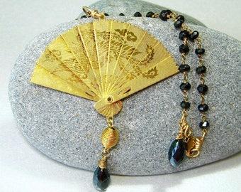 Black Spinel Beaded Gold Link Necklace, Rare Oriental Style Geisha Brass Fan & Black Garnet Gemstone Teardrop Briolettes Orient Express