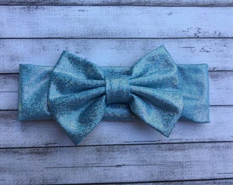 Cinderella blue glitter bow headband Bow Baby Soft headband wrap baby toddler girls sparkley blue bow headband