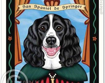 11x14 Springer Spaniel Art - Patron Saint of  Play - Art print by Krista Brooks