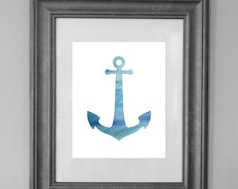 Anchor Painting Print / Beach House / Home Decor / Nursery Decor /Seaside Art / INSTANT DOWNLOAD