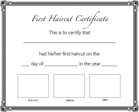 First haircut certificate instant download yelopaper Gallery