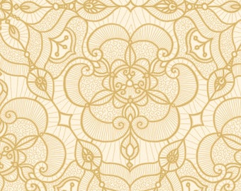 Quilting Treasures - Luminous Lace - Lace Medallion - Cream/Gold - Fabric by the Yard 24432-E