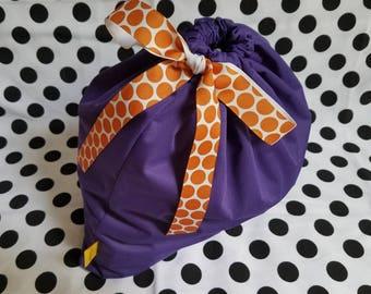 "Original Medium Wet Bag-13""x14"" - Plum PUL fabric w Orange Dot Ribbon- Swim Team Bag- Drawstring Bag- Waterproof Bag-Swim Bag- Workout Bag"