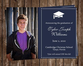 Graduation Announcements, Navy Blue, Regal, Party Invitations, Senior Picture, 10 Printed Invitations, Open House, Graduate, FREE Shipping