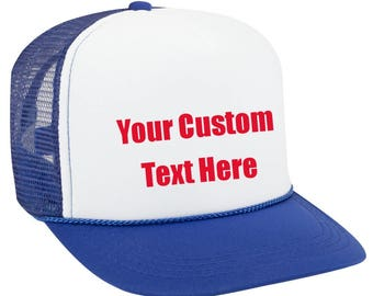 Customizable Hat, High Profile Trucker Hat, Custom Text Hat, Personal Message, Foam Front Hat, Unisex Cap, Baseball Cap, Red White And Blue