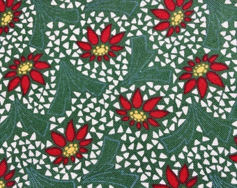 Sale Christmas fabric, bargain remnant, green red  poinsettia fabric, four yards Wash tub Santa Claus Lane by Andover