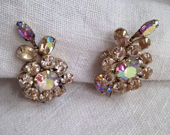 Schreiner Flower Earrings Clear Aurora Borealis Rhinestones Unsigned