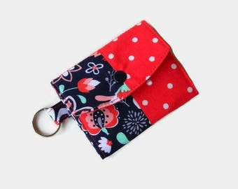 Trifold Mini Wallet with Key Ring - Orange and Navy Pocket Credit Card Holder - Optional Matching Key Fob - ID Holder - Small Travel Wallet