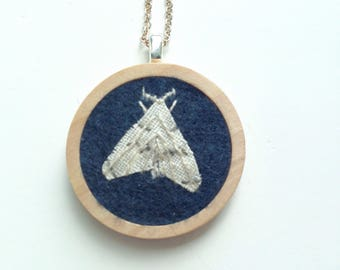 Linen Moth Embroidered Pendant