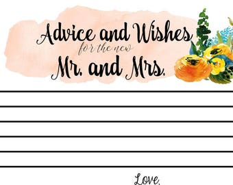Wedding Table Cards *Advice and Wishes for the New Mr and Mrs* Sunshine