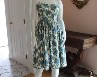 Vintage 1950s Blue and Green Floral Spaghetti Strap Dress