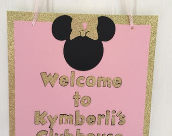 Welcome to Minnie Clubhouse  Door Sogn Minnie Mouse Inspired Birthday Party Door Sign Minnie Decoration Gold Pink Minnie Die Cut