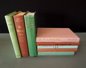 Green Terracotta Mix Rustic Hardcover Books - Colorful Bookshelf Decor - Mixed Books by Color - Vintage Books for Decor