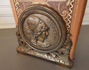 Expandable Art Nouveau Brass Bookend Book Holder - Minerva Image Metal Book Rack - Den Office Library - Home Decor Art Nouveau Bohemian