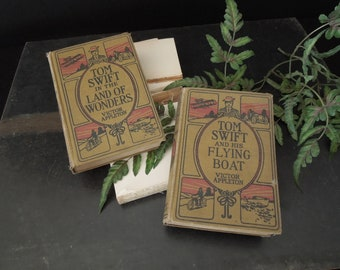 Two Tom Swift Novels - Book Set Vintage Book Collection - Tan Khaki Red Black Decorative Pictorial Covers - Victor Appleton
