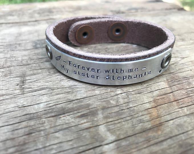 Memorial Bracelet In Memory Personalized Tribute Leather Bracelet Custom Remembrance Gift