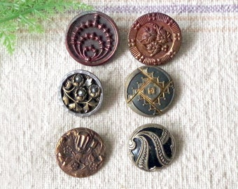 Antique Victorian metal BUTTON lot of Six Ornate Figural Collectible Buttons - Steel Cut Button - Enamel -Brass shank
