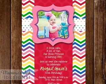 20% OFF SALE Chevron Rainbow and Polka Dots Photo Birthday Invite - PRINTABLE Invitation Design