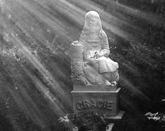 """Cemetery Series """"Mourning Light No. 3- Gracie"""" Unframed Photography Giclée Print. ChyaCyn productions. Savannah GA. Girl Statue Stone Grave"""