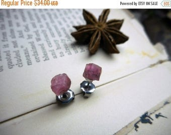 SALE The Raspberry Blush Spinel Earrings. Rough Raw Pink Spinel Specimens & Titanium Post Ear studs