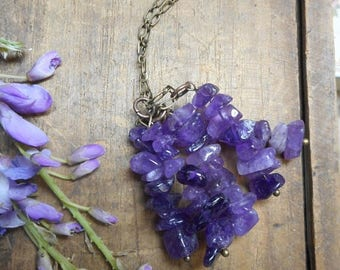 SALE Hanging Wisteria. Genuine Amethyst Cluster Fringe & Antique brass Necklace