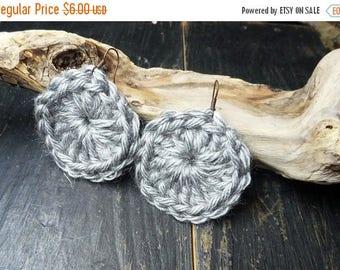 SALE SILVER DOLLARS. Handmade Crochet Silver yarn conchos gypsy earrings.