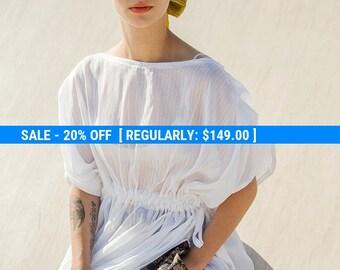 Silk Cotton chifon dress tunic with waist tying