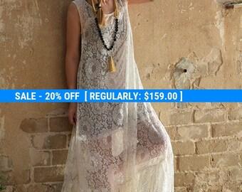 Ivory white lace maxi dress, romantic dress, wedding dress, prom dress - sexy lace dress