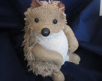 HEDGEHOG RUSTIC DOLL Figure  Burlap and Paper