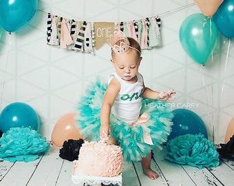 Tutu Dress   Birthday Tutu   Baby Tutu Skirt   Teal Birthday Tutu   Strawberrie Rose   Teal Mint Peach Boho 1st Birthday Tutu