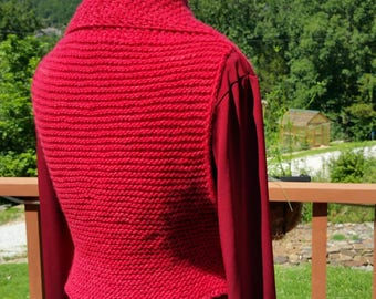 Eve Starr Originals: Handknit Origami Vest in SOFT Malabrigo Ravelry Red, shawl collar wrapped style fits over layers, one size fits most