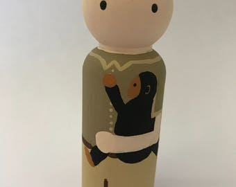 Jane Goodall - Wooden Peg Doll