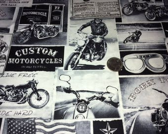 For JEFFBEV, Motorcycle Fabric, 8 Yard, Biker Lane News, Fine Quilt Fabric, Timeless Treasures Fabric, C3646-NEWS, Black, Motorcycle, Ride