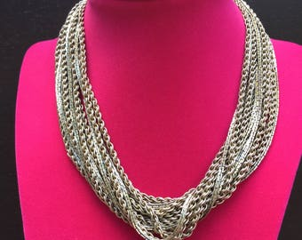 Vintage MONET 16 Strand Metal Chains Twisted Chains Hook Clasp Extension Gold & Silver Tone Statement Necklace 1970s 70s Costume Jewelry
