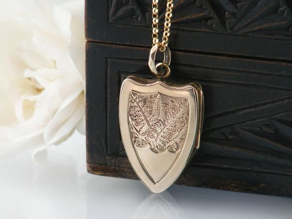RESERVED FOR LEC - Gold Antique Locket | Love Token, Victorian Shield Locket | Engraved Gold Back & Front Shield Locket - 20 Inch Chain