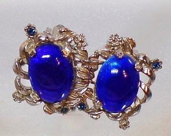 SALE Vintage Judy Lee Blue Rhinestone Earrings.  1960s Blue Glass Cabochon Rhinestone Clip On Earrings.