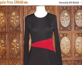 ON SALE Vintage 1980s DAVID Meister  Black and Red Color Block Dress sz 6