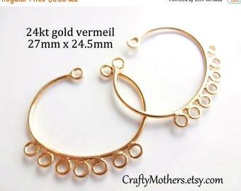 7% off SHOP SALE 1 Pair Bali 24kt Gold Vermeil Chandelier Findings (2 pieces), 27mm x 24.5mm, Earring Component