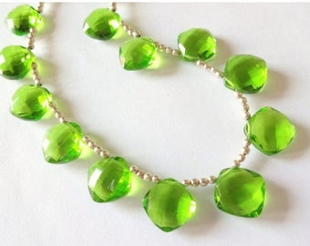 7% off SHOP SALE PERIDOT Green Hydro Quartz Faceted Cushion Briolettes, Choose a Focal Bead or Matched Earring Pair or Both