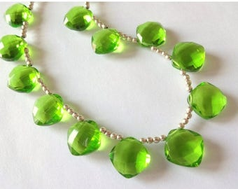 7% off SHOP SALE PERIDOT Green Hydro Quartz Faceted Cushion Briolettes, (1) Matched Pair, 13mm, earring, diy jewelry