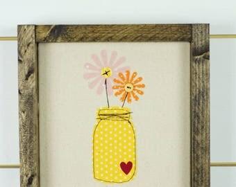 wood signs, wood wall art, floral home decor, floral wall art, girls room, framed art, wall hanging, baby girl nursery, ball jar wood sign