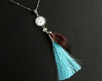 Tassel Necklace. Feather Necklace. Aqua Blue Necklace. Brown Necklace. Turquoise Tassle Necklace. Silver Necklace. Handmade Necklace.
