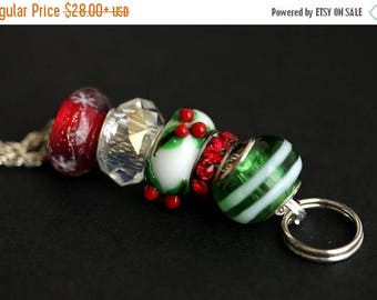 BACK to SCHOOL SALE Christmas Lanyard. Beaded Lanyard. Christmas Holly Lanyard. Badge Lanyard. Red and Green Lanyard. Badge Holder. Holiday