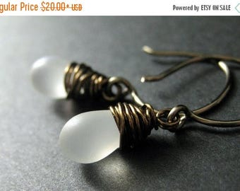 BACK to SCHOOL SALE Frost White Earrings: Teardrop Earrings Wire Wrapped in Bronze - Elixir of Frost. Handmade Earrings.