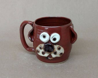 Doggo lover coffee mug. Handcrafted Microwave and Dishwasher Safe Stoneware Pottery Cup. Rustic Red and Tan Food Safe Finish. Nelson Studio.