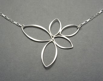 Lotus Necklace - 925 Sterling Silver Necklace, yoga necklace, lotus flower jewelry, buddhist jewelry, gift